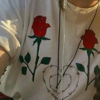 shirt roses white t-shirt