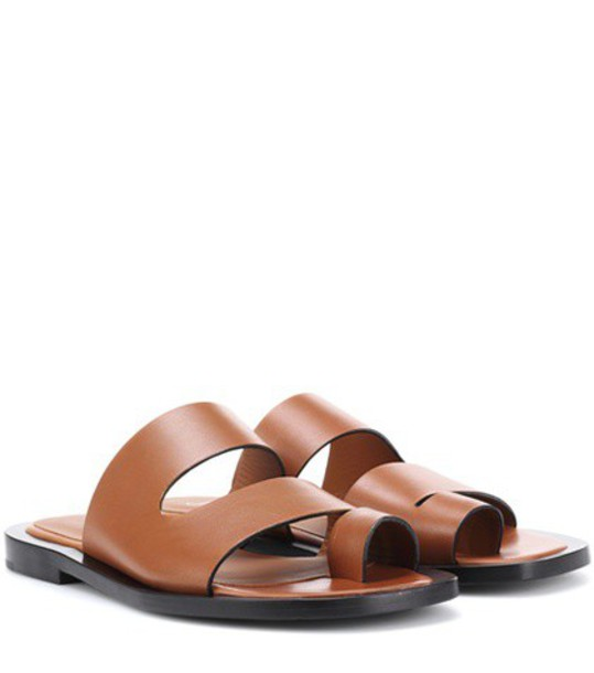 Joseph Leather slides in brown