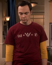 t-shirt,red,flash,equation,big bang theory,jim parsons,sheldon cooper
