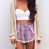 jacket,white,wool,cardigan,colorful,top,pockets,high waisted,shorts,pattern,flowered shorts,white crop tops,cream cardigan,girly,printed shorts,bandeau,white bandeau,tank top,shorts colours pink summer,shirt,summetime,summer outfits,summer,cropped,crop tops,floral,lace,pink,purple,flowy,oversized cardigan,spring,tan,sort of thick,crochet,crochet top,floral boho dress,boho,boho chic,white top