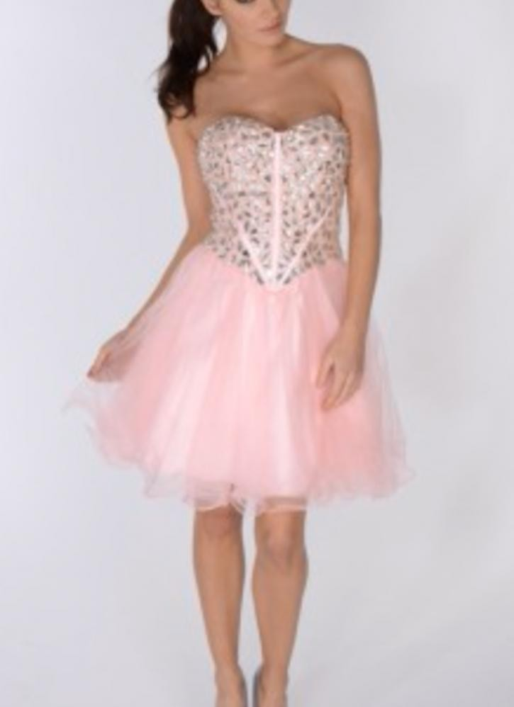 Pink Strapless Tutu Dress w/Sequin Corset Bodice