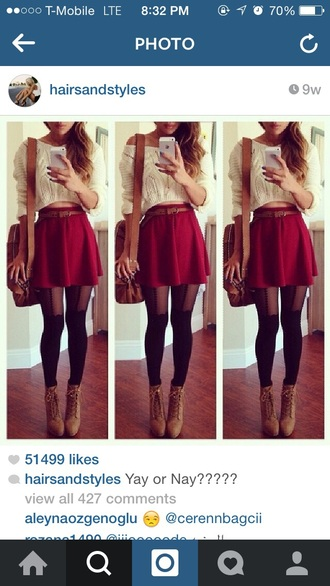 skirt red skirt black tights blouse shoes