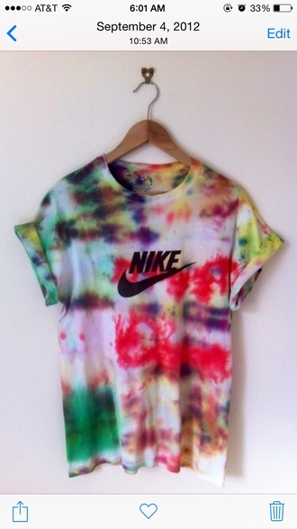shirt nike tiedye tie dye nikesportswear loose tshirt girls boys/girls cute stylish