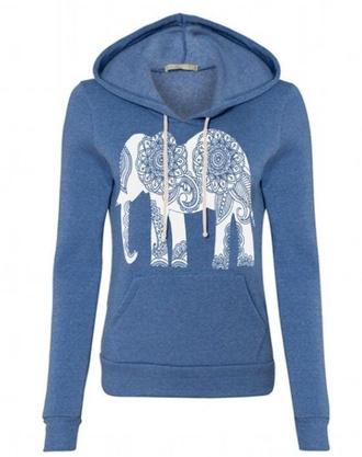 jacket elephant hoodie blue hoodie elephant print sweater/sweatshirt shirt