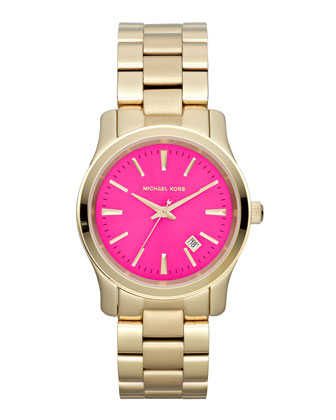 Michael Kors Mid-Size Golden Stainless Steel Pink-Face Three-Hand Watch - Michael Kors