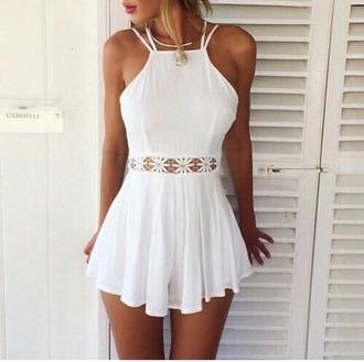 jumpsuit white jumpsuits cute dress white dress