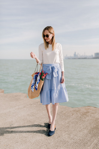 kelly in the city - a preppy chicago life style and fashion blog blogger skirt scarf top dress jacket pants blue skirt midi skirt raffia bag spring outfits