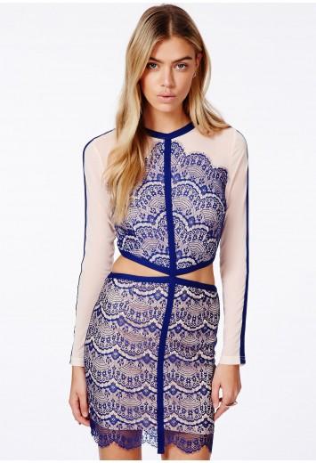 Rosario Cut Out Lace Panel Mini Dress - Mini Dresses - Dresses - Missguided