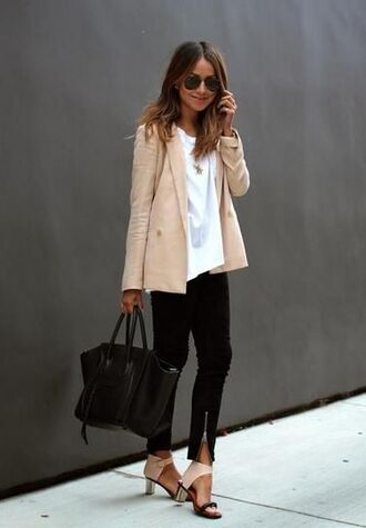 shoes heal small beije classy jacket blazer work clothes metallic beige jacket style
