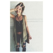 black crop top,ripped jeans,cardigan,crop tops,jeans,bag,sunglasses,green millitary,grunge,pants,green,army green,cute,edgy,ripped,tank top,shirt,denim,dark jeans,coat,sweater,sleeveless,boho,green coverup,gilet,comfy,casual,summer,fall outfits,bun,hipster,flowy,vest,green cardigan,destroyed skinny jeans,spring,weheartit,hair,hippie,brunette,loose,army green jacket,black,style,fashion,purse,shoes,jewelry,necklace,blouse,cardi,boho chic,blue jeans,blue,black jeans,top,jacket,beautiful,olive green,hippie chic,tanks,clothes,hot,tumblr,tumblr outfit,tumblr girl,long,greenish,army green no sleeves frilly  on edge,bohemian,jewlrey,jewels,outfit,luli fama