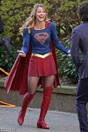 skirt,halloween outfit,melissa benoist,red,blue,superwoman,costume,red boots,red cape,mini dress,halloween,actrice