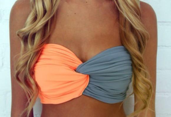 top grey style swimwear neon orange bikini beach beautymanifesto