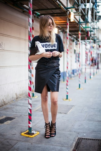 camille over the rainbow t-shirt skirt bag shoes jewels london rebel caged sandals slit skirt wrap skirt black leather skirt leather skirt black skirt black t-shirt sunglasses aviator sunglasses french girl