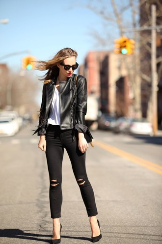 brooklyn blonde blogger jacket jeans t-shirt shoes bag