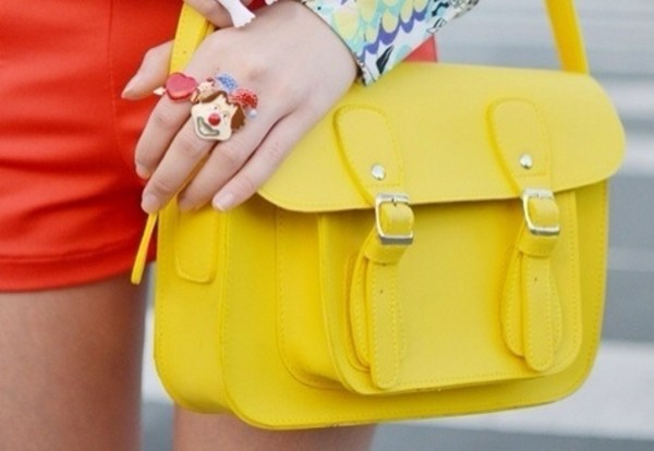 bag satchel bag yellow ring
