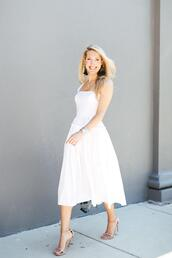 krystal schlegel,blogger,dress,shoes,jewels,white dress,midi dress,sandals,high heel sandals,summer outfits
