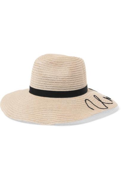 embroidered beige hat