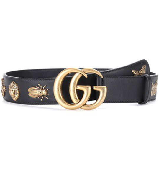 gucci embellished belt leather black