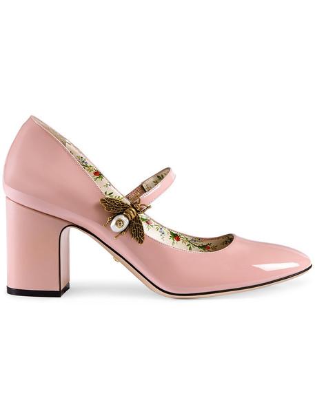 gucci heel metal women bee leather purple pink shoes