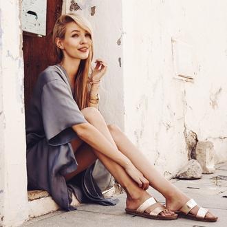 ohh couture blogger summer summer outfits slide shoes silk dress t-shirt dress