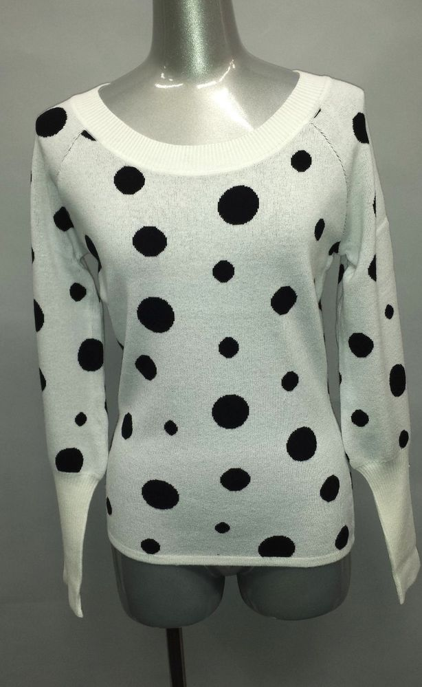New Women's Clothes Roundneck Polka Dot Long Sleeve Sweater Soft and Warm | eBay
