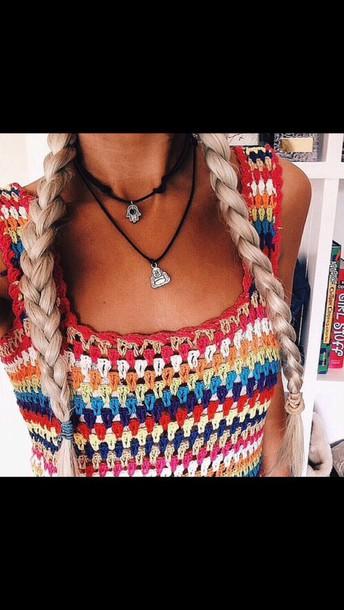 shirt colorful rainbow boho