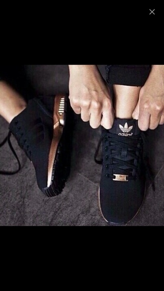 shoes black gold black and gold sneakers cute swag adidas shoes