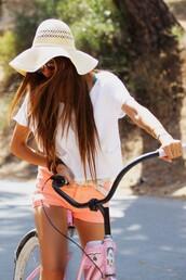 shorts,orange,shirt,hat,neon orange shorts