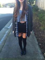 jacket,plaid,shirt,crop tops,grey,black,thigh highs,boots,High waisted shorts,tumblr,pinterest,shorts,shoes,underwear,collants,socks,knee high socks