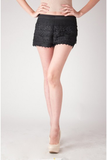 LoveMelrose.com From Harry & Molly | Layered crochet lace shorts -black- from Love Melrose - SHORTS - BOTTOMS
