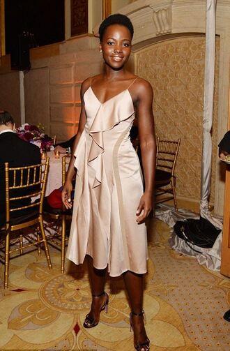 dress silk dress midi dress prom dress gown sandals lupita nyong'o tony awards pink dress