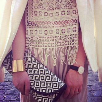 tank top white beige clothes crochet cute design hippie t-shirt