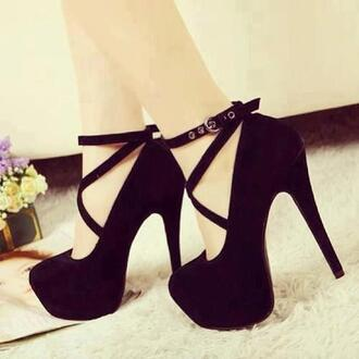 shoes black shoes high heels black high heels platform high heels strappy black heels
