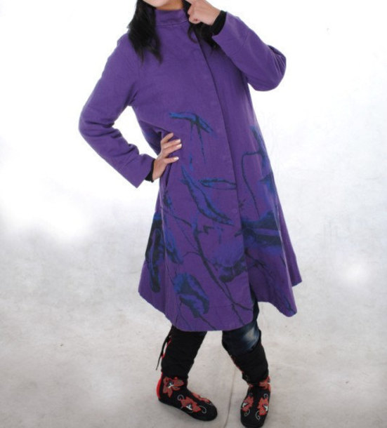 coat long coat purple windbreaker