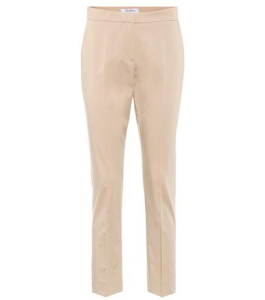 Max Mara Guglia cotton-blend trousers in beige / beige