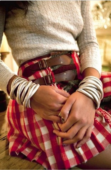 buckles clothes skirt plaid skirt buckle skirt sweater