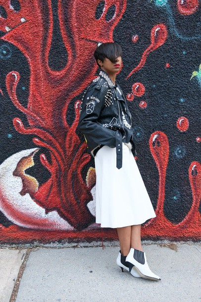 where did u get that blogger white skirt ankle boots pointed toe spiked leather jacket black girls killin it