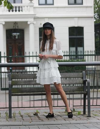 dress tumblr mini dress white dress ruffle ruffle dress hat shoes loafers black loafers