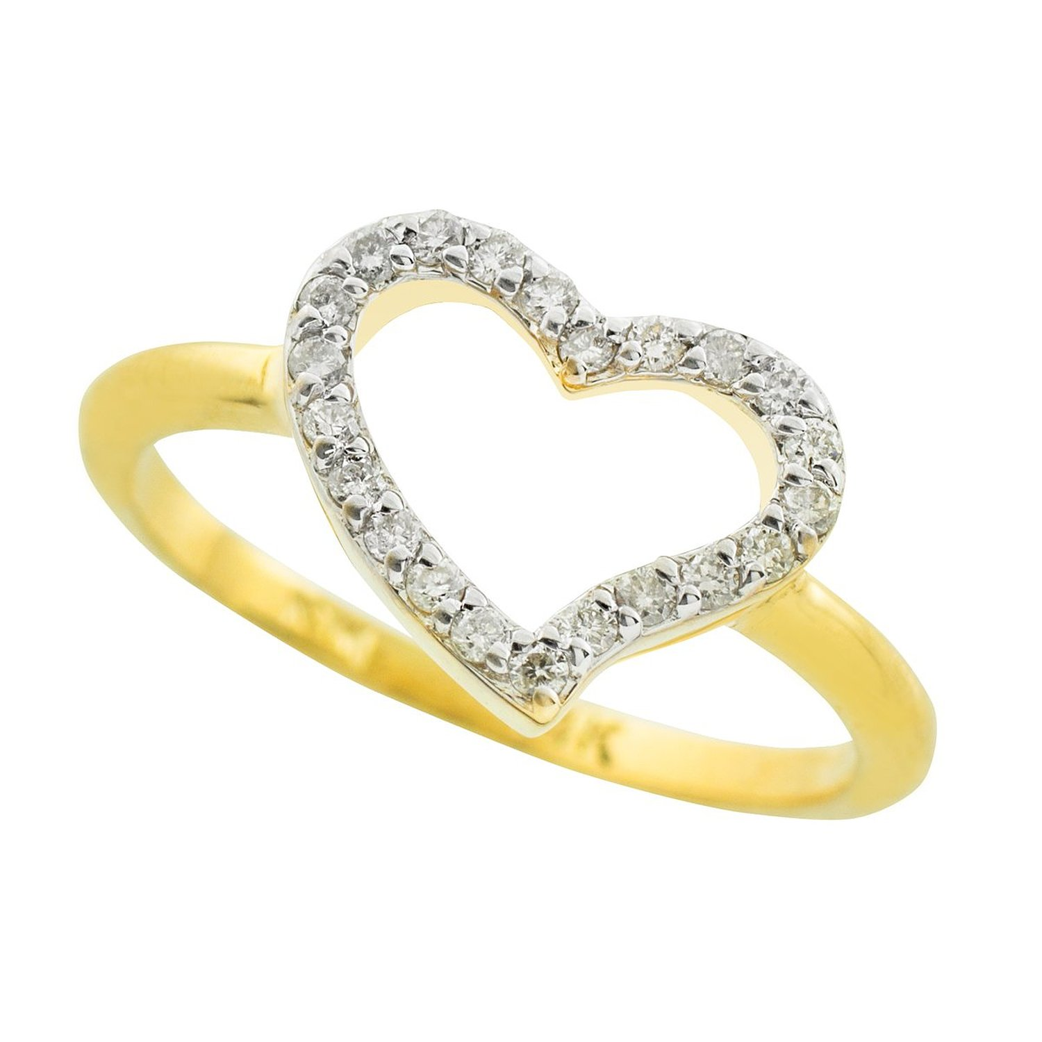 Amazon.com: dainty 10k yellow gold cz open heart ring: jewelry