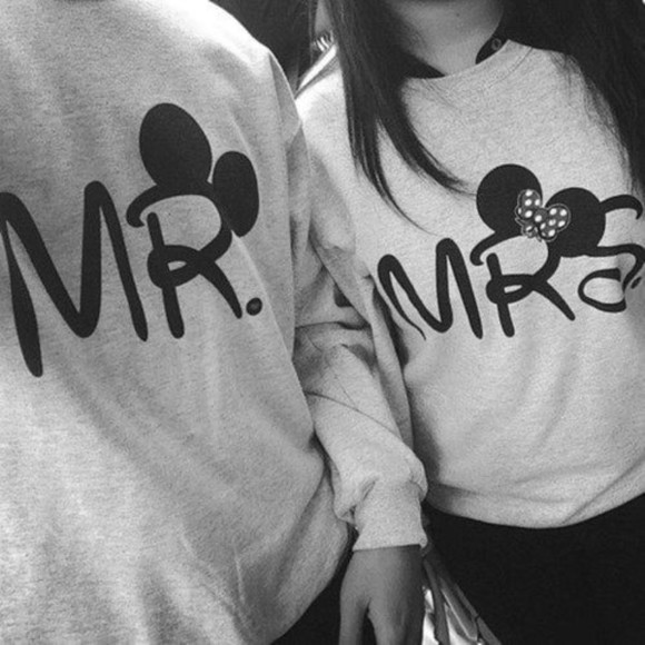 mickey mouse minnie black and white minnie mouse fashion mrs. mr. mrs cute couple couple grey mr & mrs mr couple sweater sweater girlfriend whifey dee patterson cute couple shirts crewneck boyfriend jeans unisex sweater
