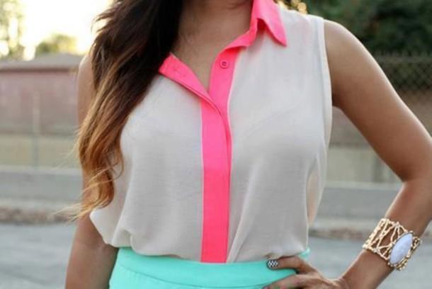 Neon Pink Chiffon Blouse 46