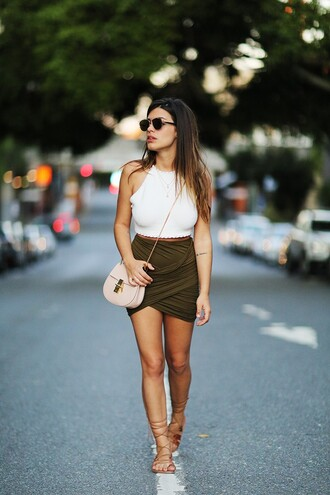 dulceida blogger draped skirt khaki white crop tops halter crop top strappy sandals skirt cute short skirt colors black green