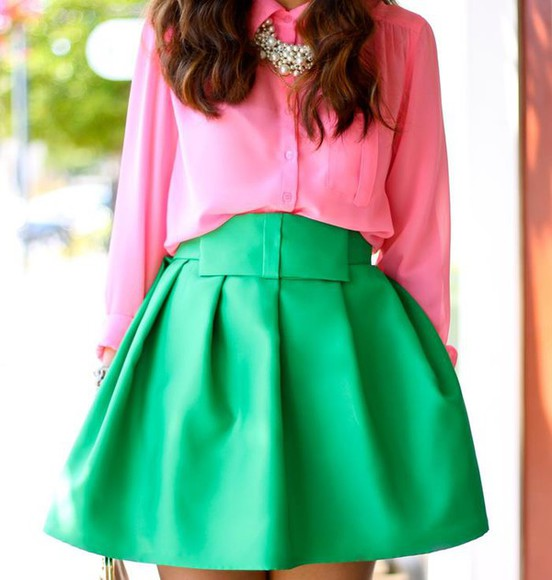 skirt jewels blouse necklace