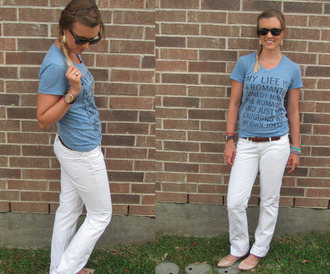 jewels spikes sunglasses skreened white jeans beige flats t-shirt