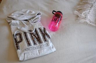 pink by victorias secret cheetah lettering white hoodie water bottle jacket camping sweater pink life black pink hoodie grey leopard print