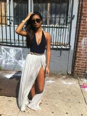 skirt,maxi skirt,white,sexy,summer,tank top,split skirt,grey skirt,maxi,blouse,dress,black and white