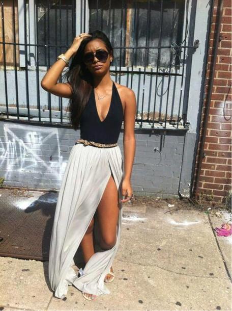 skirt maxi skirt white sexy summer tank top split skirt grey skirt maxi blouse dress black and white