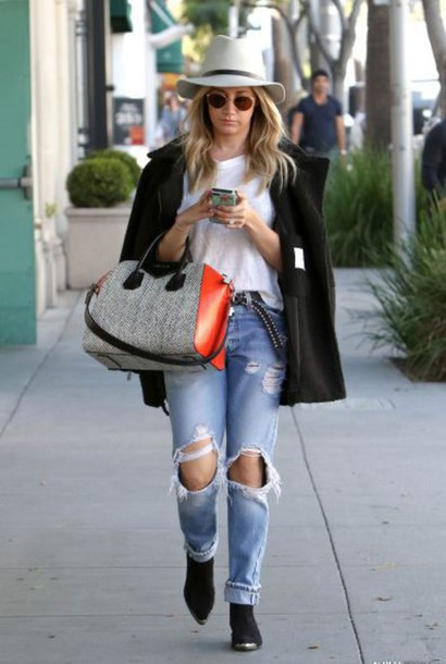 shoes boots ankle boots ashley tisdale ripped jeans boyfriend jeans hat