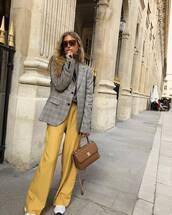 pants,wide-leg pants,yellow pants,high waisted pants,sneakers,handbag,blazer,oversized,check blazer,sunglasses