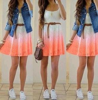 dress pink pink dress white white dress shorts beige dress denim shoes jacket denim jacket belt want dress cute ombre ombre dress salmon dresses salmon pink